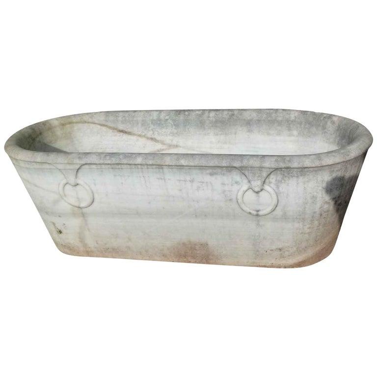 19th Century Spanish Carrara Marble Bath For Sale
