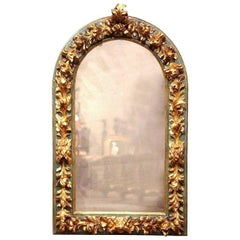 19th Century Spanish Carved Giltwood Polychrome Wall Mirror with Smoked Glass