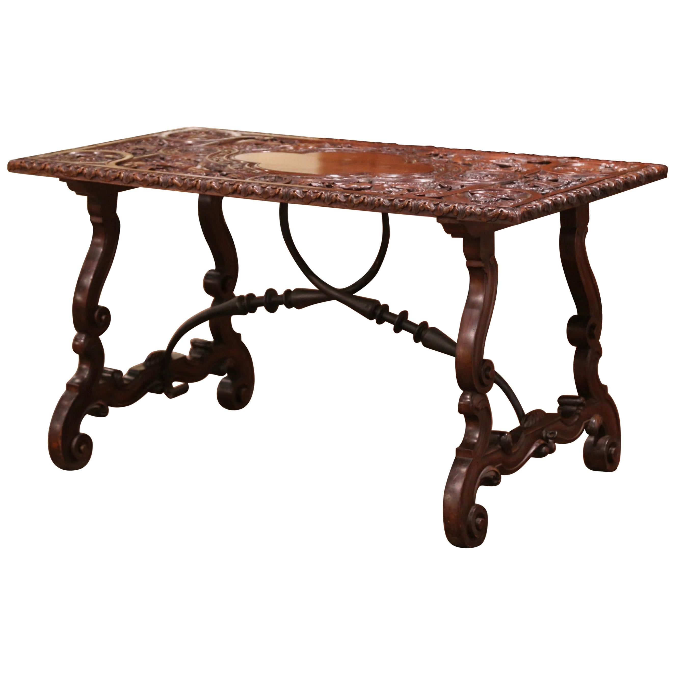 19th Century Spanish Carved Walnut and Wrought Iron Console Center Table