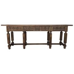 19. Jahrhundert, Spanische Geschnitzte Walnussbank oder Niedriger Tisch mit Zwei Schubladen