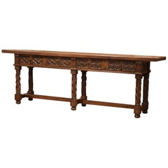 19th Century Spanish Carved Walnut Six-Leg Console Sofa Table with Drawers