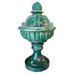 19th Century Spanish Classical Green Glazed Terracotta Finial