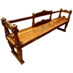 19th Century Spanish Colonial Carved Mahogany Bench