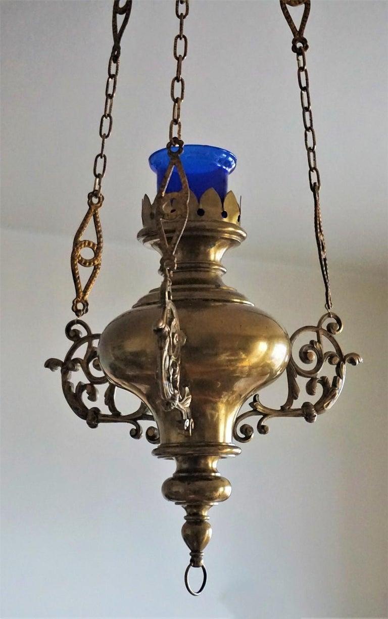19. Jahrhundert spanischen Kolonialstil Messing Hängelampe Heiligtum, Kirche Anhänger 4