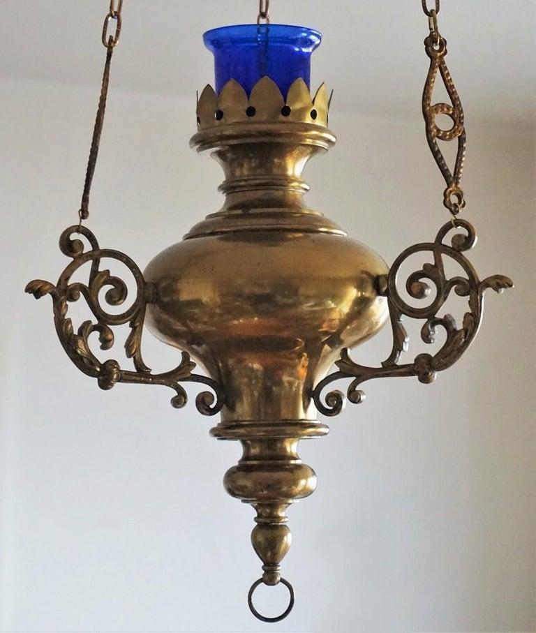 19. Jahrhundert spanischen Kolonialstil Messing Hängelampe Heiligtum, Kirche Anhänger 5