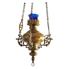 19th Century Spanish Colonial Style Brass Hanging Sanctuary Lamp, Church Pendant