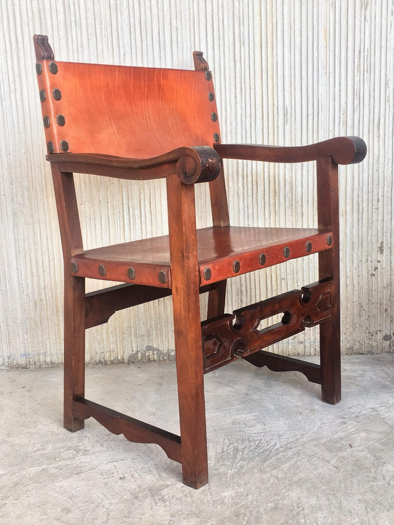 19th Century Spanish Colonial Style Carved Armchairs with Leather For Sale 6