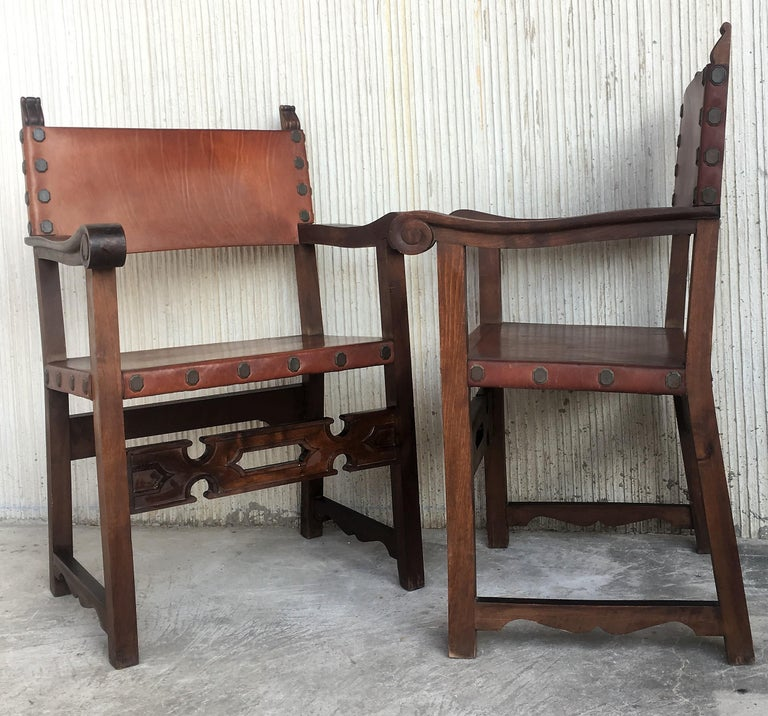 19th Century Spanish Colonial Style Carved Armchairs with Leather For Sale 1