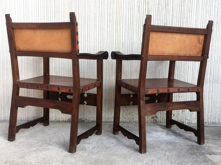 19th Century Spanish Colonial Style Carved Armchairs with Leather For Sale 2