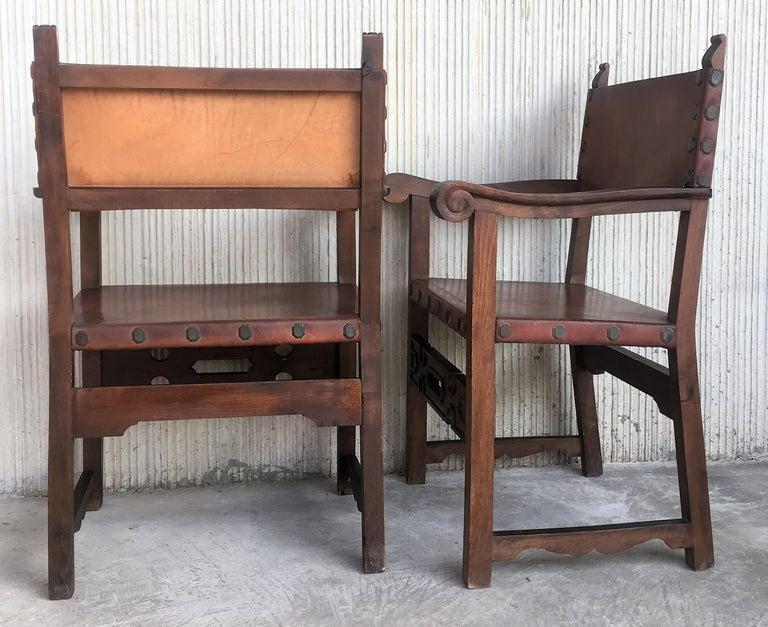 19th Century Spanish Colonial Style Carved Armchairs with Leather For Sale 3