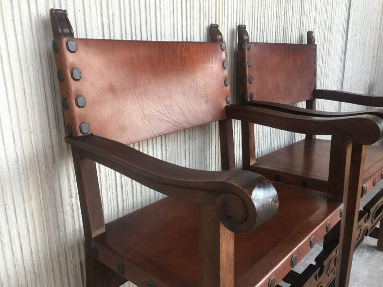 19th Century Spanish Colonial Style Carved Armchairs with Leather For Sale 5