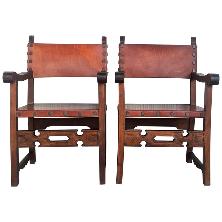 19th Century Spanish Colonial Style Carved Armchairs with Leather For Sale