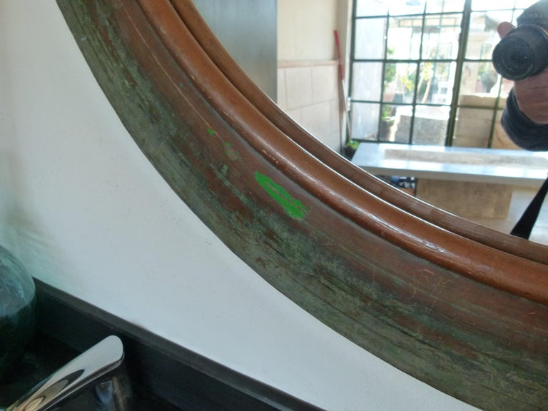 Other 19th Century Copper Circular Framed Wall Mirror For Sale