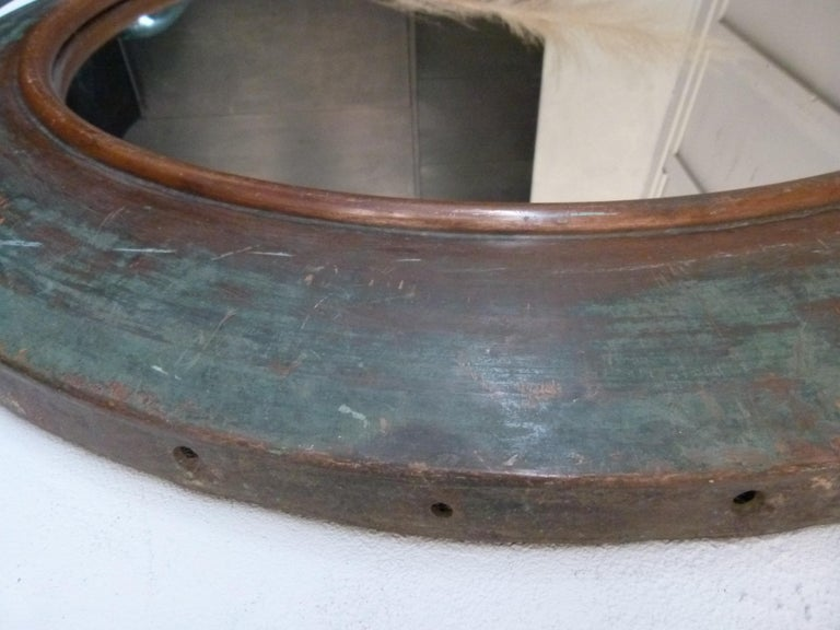 Spanish 19th Century Copper Circular Framed Wall Mirror For Sale