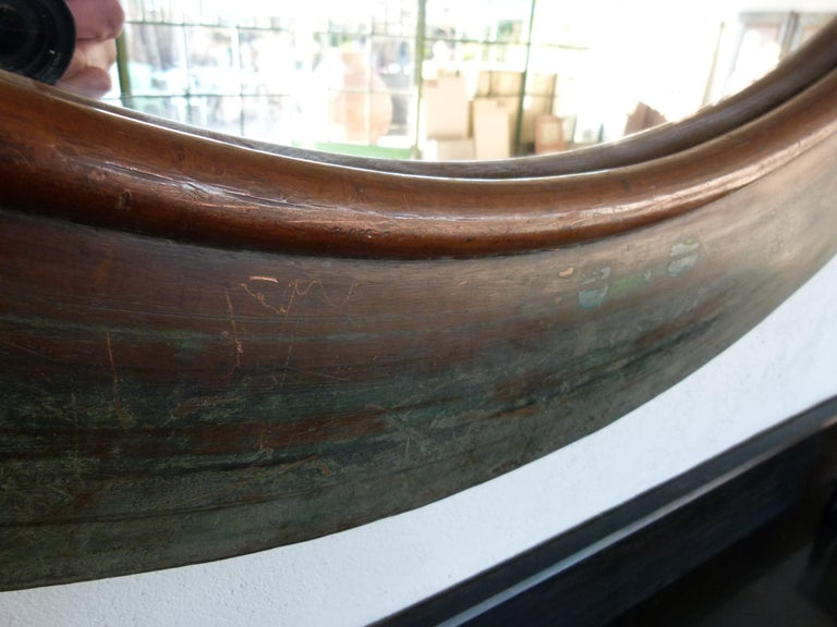 19th Century Copper Circular Framed Wall Mirror In Good Condition For Sale In Vulpellac, Girona