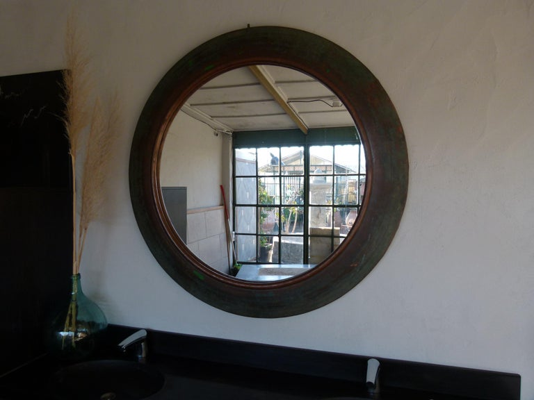 20th Century 19th Century Copper Circular Framed Wall Mirror For Sale