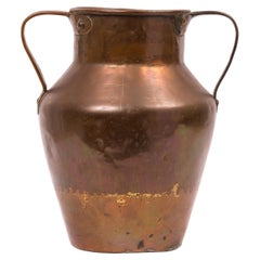 19th Century Spanish Copper Container with Two Handles and Cross Mark