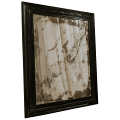 19th Century Spanish Ebonised Fruitwood Mirror