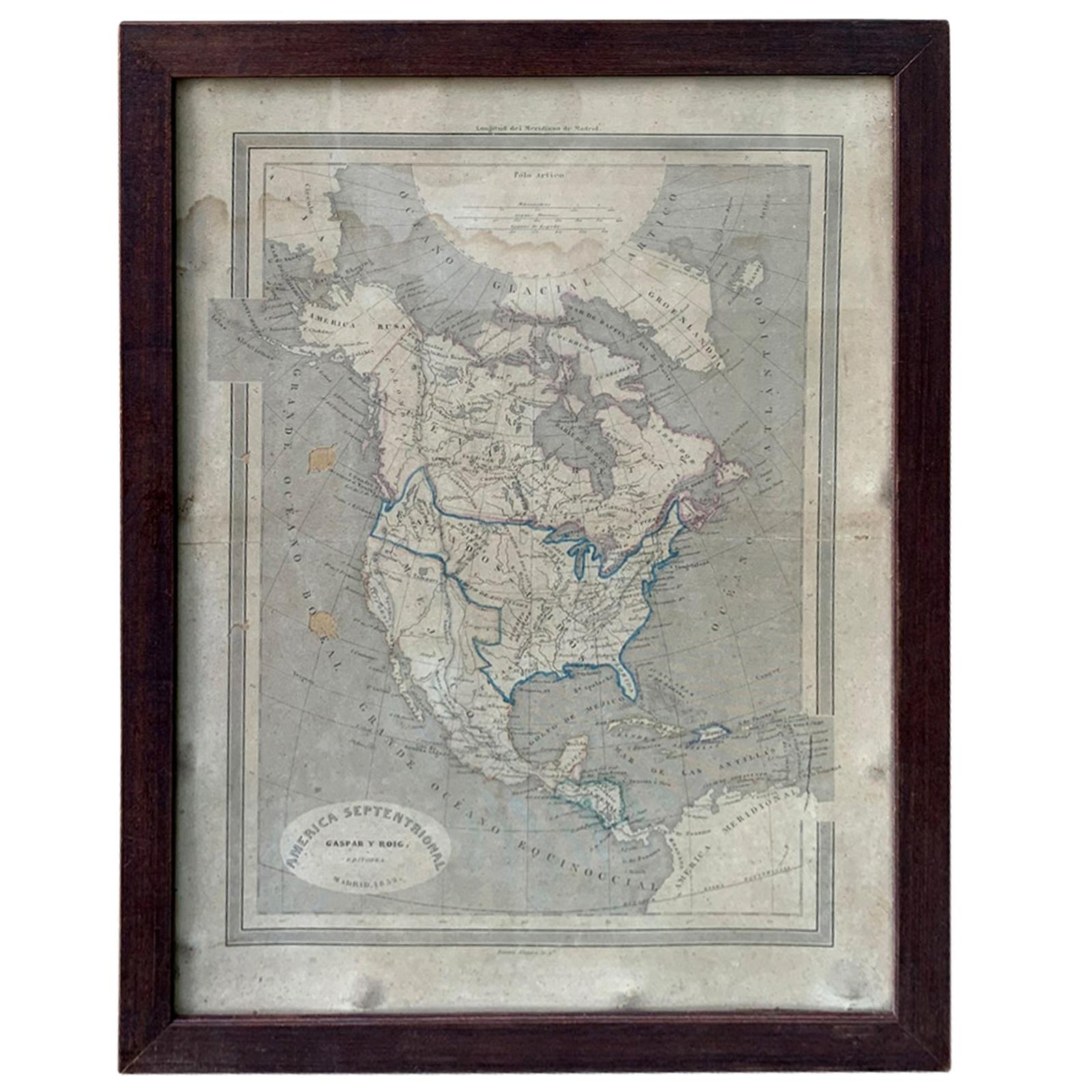19th Century Spanish Engraved Map of America by Gaspar Y Roig, Madrid