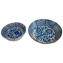 19th Century Spanish Fajalauza Blue and White Glazed Terra Cotta Plates