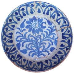 19th Century Spanish Fajalauza White and Blue Glazed Terracotta Plate