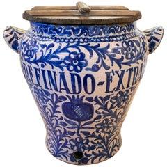 19th Century Spanish Fajalouza Glazed Pottery Vase Decorated with Cobalt Blue