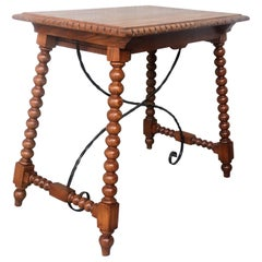 19th Century Spanish Farm Table with Iron Stretchers, Hand Carved Top and Drawer