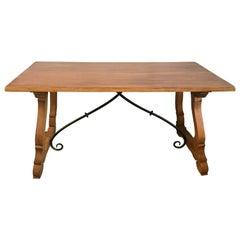 19th Century Spanish Farm Trestle Lyre Leg Table with Forged Iron