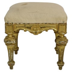 19th Century Spanish Gilded and Carved Stool or Tabouret
