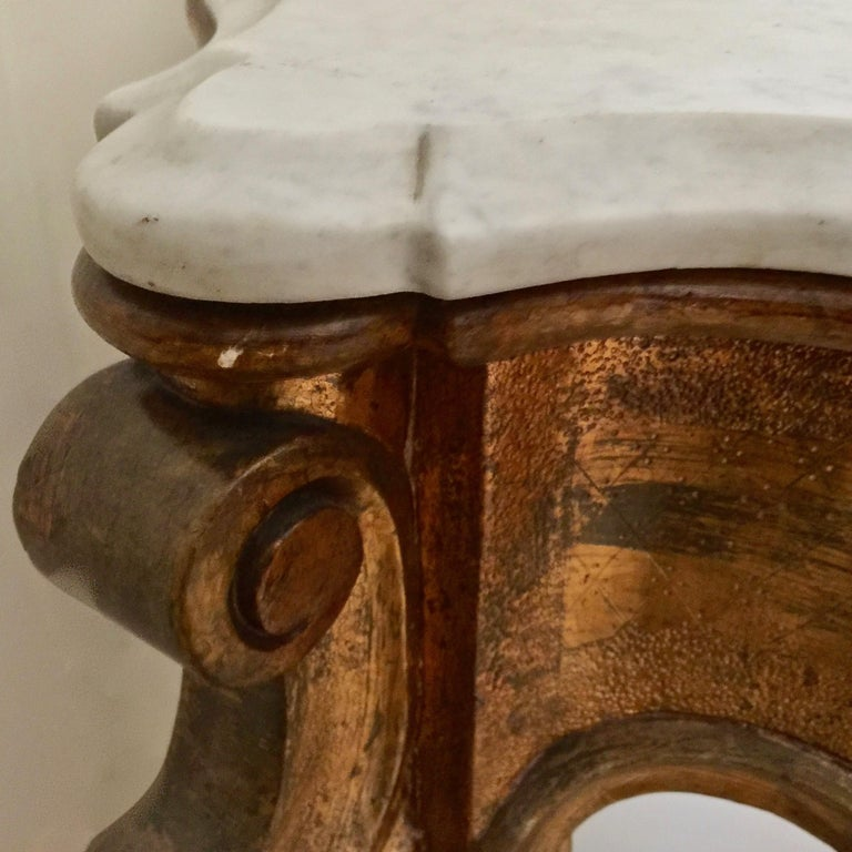 Hand-Carved 19th Century Spanish Giltwood Console For Sale