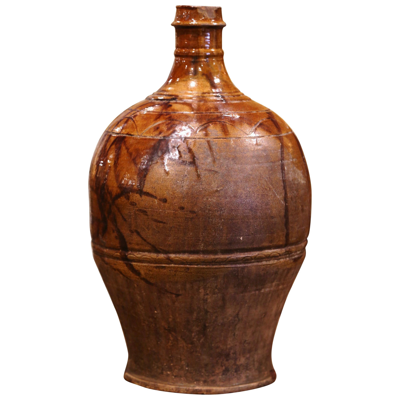 19th Century Spanish Glazed and Painted Terracotta Wine Jar