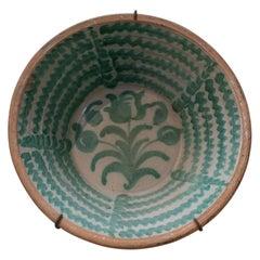 "19th Century Spanish Granada Fajalouza ""Lebrillo"" Glazed Terracotta Bowl"