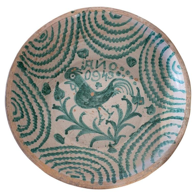 "19th Century Spanish Granada Fajalouza ""Lebrillo"" Glazed Terracotta Bowl For Sale"