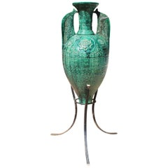 19th Century Spanish Green Glazed Ceramic Moorish Style Amphora