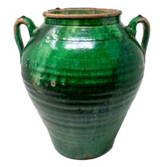 19th Century Spanish Green Glazed Ceramic Vase with Handles