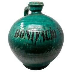 """19th Century Spanish Green Glazed Closed Vase Reading """"Bonifacio Vlanco"""""""
