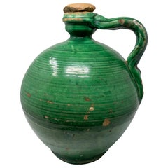 19th Century Spanish Green Glazed Closed Vase with Original Lid