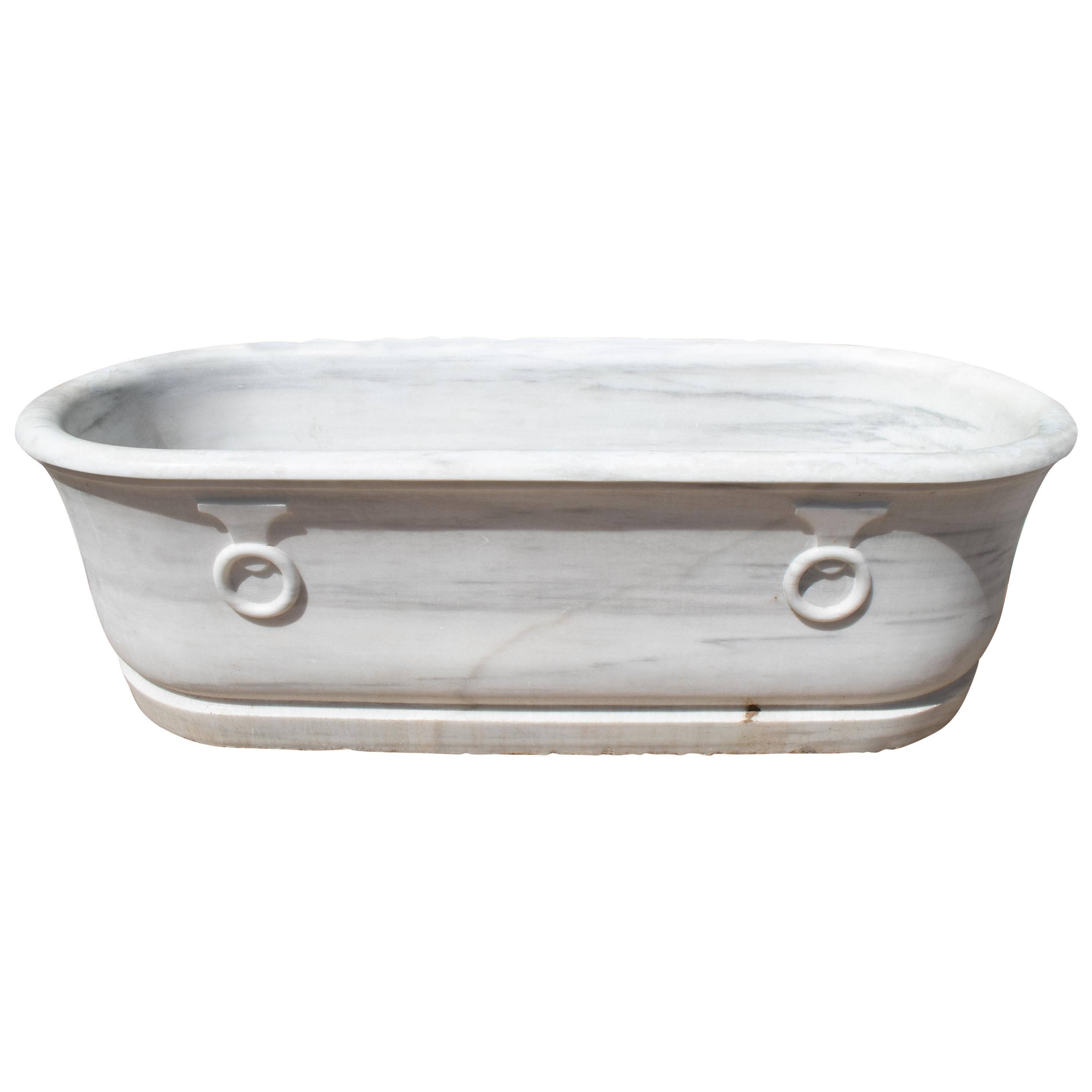 19th Century Spanish Hand Carved One Piece Marble Bath with Rings