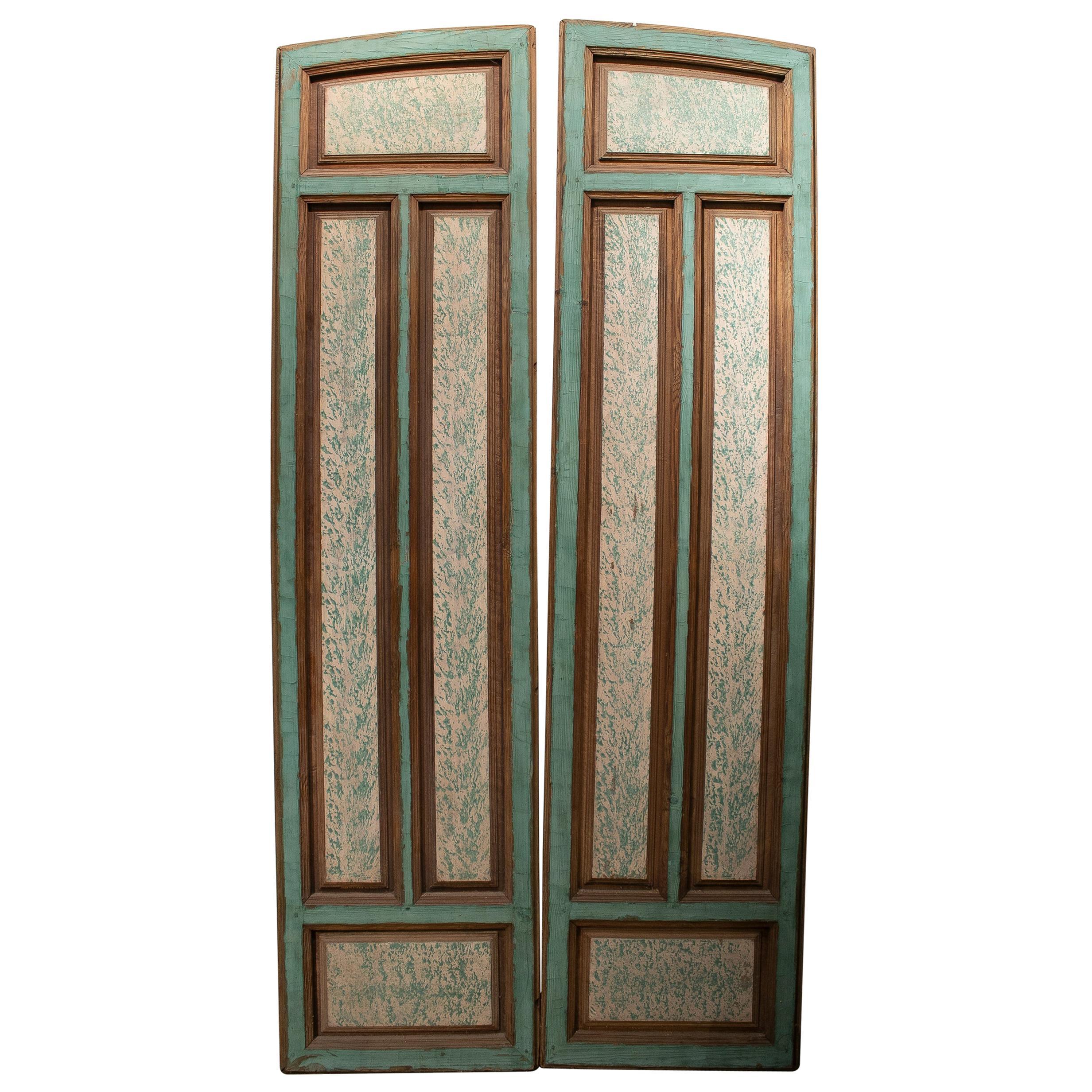 19th Century Spanish Hand Pained Pine Wood Double Door