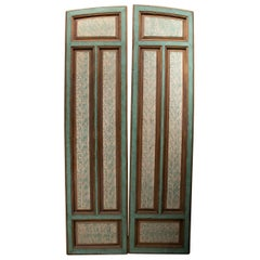 19th Century Spanish Hand Pained Pine Wood Double Door