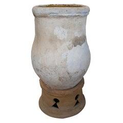 19th Century Spanish Handmade Large Whitewashed Terracotta Vase Jar