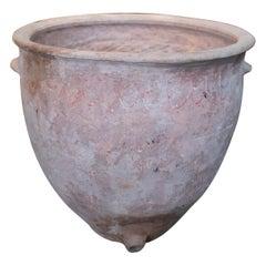 19th Century Spanish Handmade Terracotta Vase with Drain