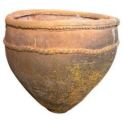 19th Century Spanish Handmade Terracotta Wash Basin Urn w/ Staples Repair
