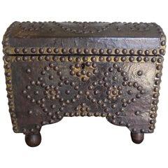 19th Century Spanish Leather Studded Box