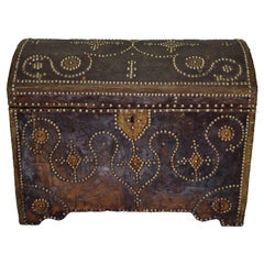 19th Century Spanish Leather Trunk with Studded Nail Heads, Origin Spain