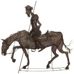 19th Century Spanish Life-Sized Equestrian Don Quixote Wire Sculpture
