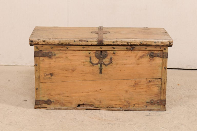 19th Century Spanish Light Wood Coffer Or Small Coffee Table