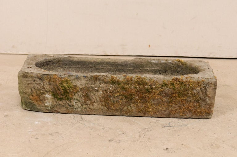 19th Century Spanish Limestone Hand-Carved Rectangular Garden Trough In Good Condition For Sale In Atlanta, GA