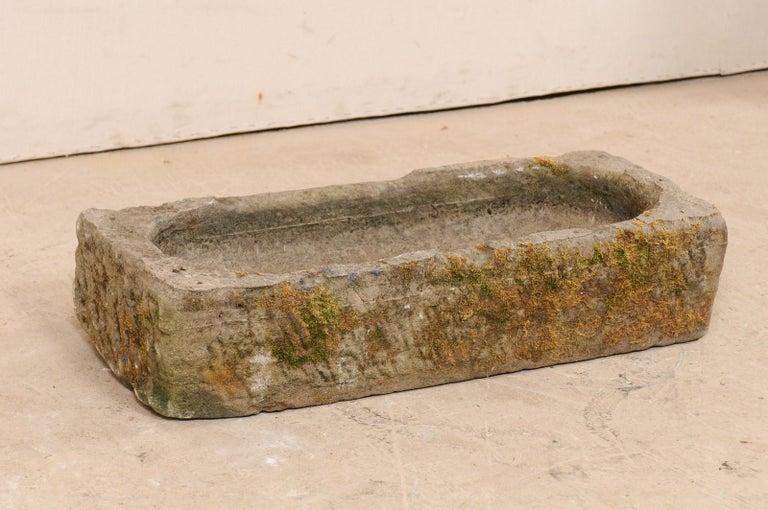 Stone 19th Century Spanish Limestone Hand-Carved Rectangular Garden Trough For Sale