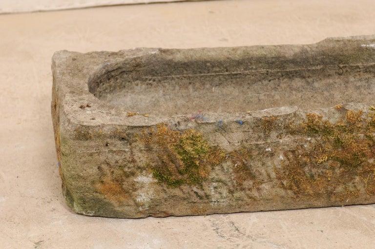 19th Century Spanish Limestone Hand-Carved Rectangular Garden Trough For Sale 3